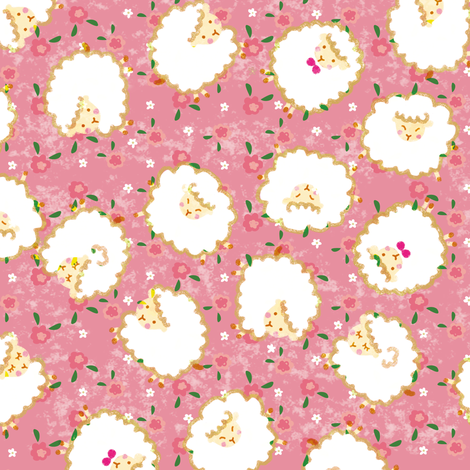 Sheep among the flowers fabric by sindychang on Spoonflower - custom fabric