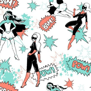 Coral Black and Minten White comic book heroines