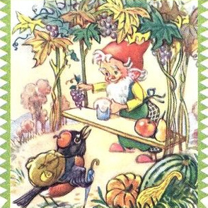 trees mountains grapes vines leaves gnomes elf elves pixies fruits juice apples pears pumpkins squash magpies crows birds fruits hiking vegetables