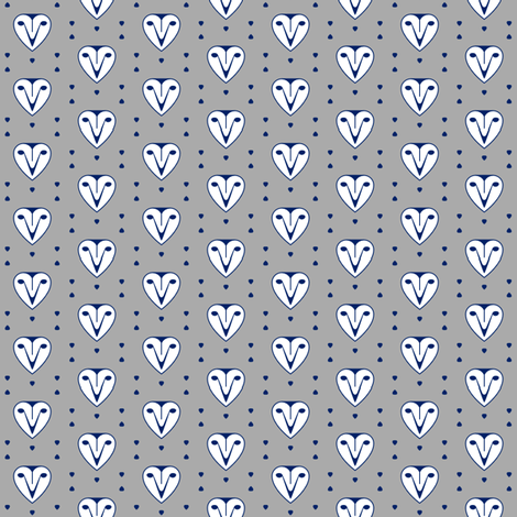 Owl hearts grey and blue fabric by aldea on Spoonflower - custom fabric