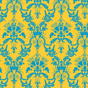 Space Damask - Cosmic Curry Damask