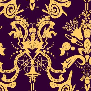 Cosmic Space Damask Eggplant