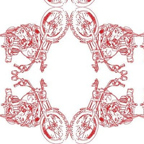 Motorcycle Damask in Red