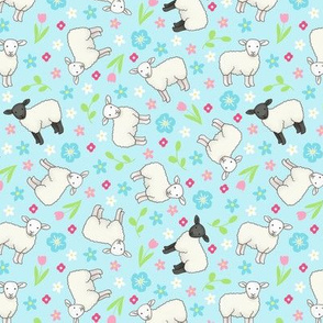 Ditsy Spring Sheep - pastel blue