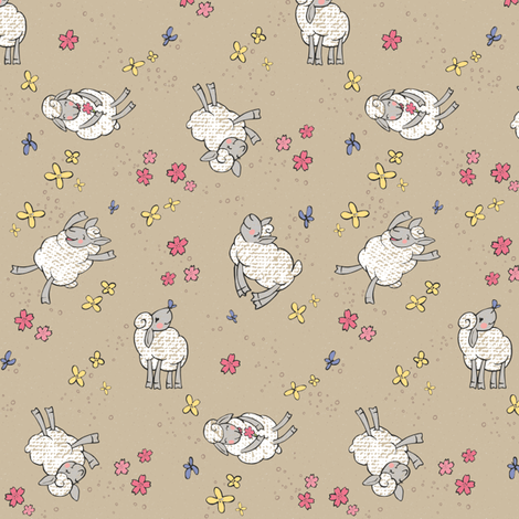 Ditsy Springy Sheep fabric by pinky_wittingslow on Spoonflower - custom fabric