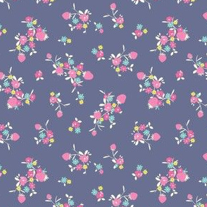 floral strawberry on navy
