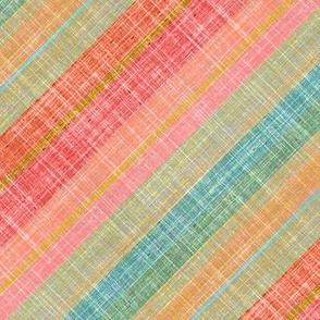 Southwest stripes faux linen on bias