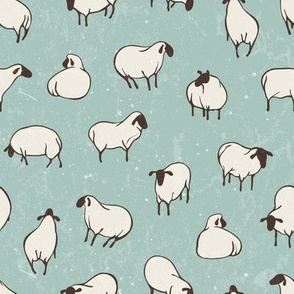 Herd of sheep in pasture