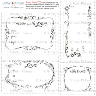 Quilt Fabric Labels_swirls black and white