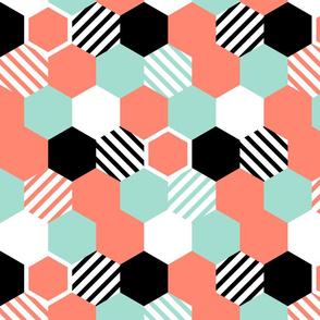 Coral Mint Black White Hexagons