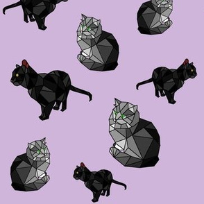 Shades of Black and Grey Cubism Cats