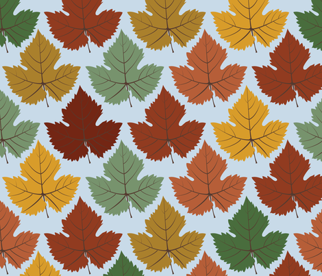 Forest of the Fox Coordinate- Autumn Leaves in Winter fabric by bella_modiste on Spoonflower - custom fabric