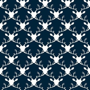 Deer heads (white on blue background)