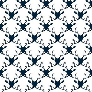 Deer heads (blue on white background)