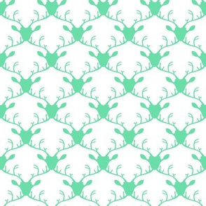 Deer heads (mint on white background)