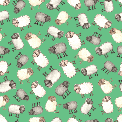 Ditsy Watercolour Sheep on Green fabric by madex on Spoonflower - custom fabric