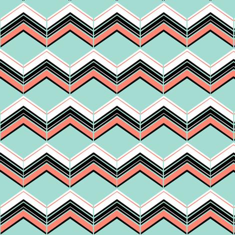 Coral/Mint/B&W Chevron fabric by esheepdesigns on Spoonflower - custom fabric