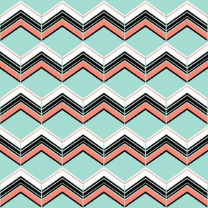 Coral/Mint/B&W Chevron