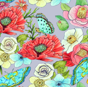 spring watercolor-garden-flowers-butterflies on cool grey