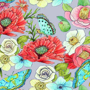 Watercolor floral, Poppy garden // watercolor-garden-flowers-butterflies on cool grey