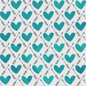 Blue Watercolor Hearts + Cupid's Arrow