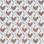Dusty Pink and Gray Watercolor Hearts + Cupid's Arrow