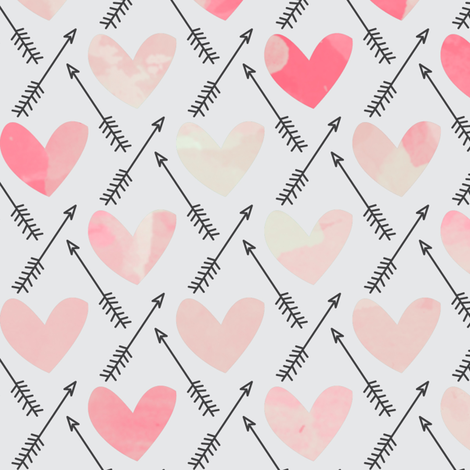 Pink Watercolor Hearts + Cupid's Arrow - Large Scale fabric by papercanoefabricshop on Spoonflower - custom fabric