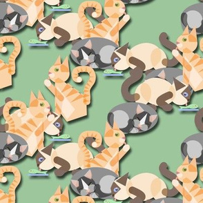 Cubist cats, Green