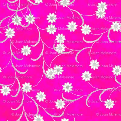 Folk Floral in Hot Pink