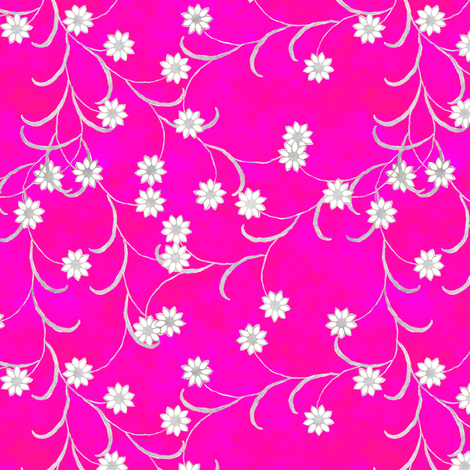 Folk Floral in Hot Pink fabric by joanmclemore on Spoonflower - custom fabric