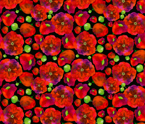 Poppies on black fabric by bunyipdesigns on Spoonflower - custom fabric