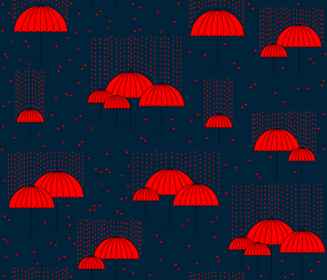 Umbrellas (red and blue) fabric by les_motifs_de_sarah on Spoonflower - custom fabric