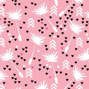 Dandelion summer spring flower geometric arrow head blossom love illustration pattern in pink