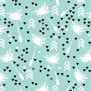 Dandelion summer spring flower geometric arrow head blossom love illustration pattern in blue
