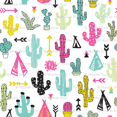 Colorful cactus and teepee botanical summer garden and indian arrow geometric grunge illustration pattern print
