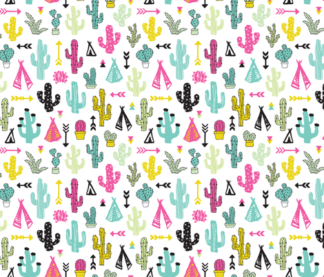 Colorful cactus and teepee botanical summer garden and indian arrow geometric grunge illustration pattern print fabric by littlesmilemakers on Spoonflower - custom fabric