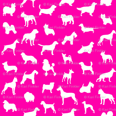 Mod-Dog Silhouettes White on Magenta Large Scale