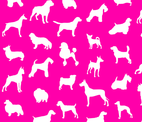 Mod-Dog Silhouettes White on Magenta Large Scale fabric by lunaarts on Spoonflower - custom fabric