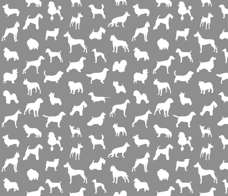 Mod-Dog Silhouettes White on Gray Small Scale fabric by lunaarts on Spoonflower - custom fabric