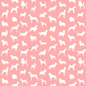 Mod-Dog Silhouettes White on Soft Coral Small Scale