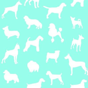 Mod-Dog Silhouettes White on Mint Small Scale