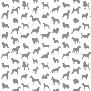 Mod-Dog Silhouettes Gray on White Small Scale