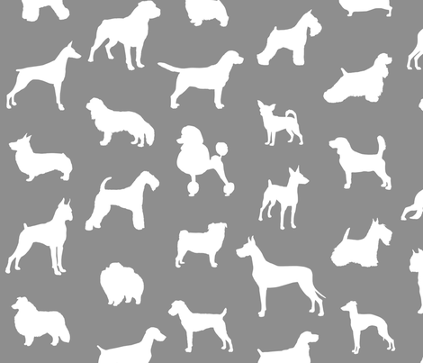 mod-dog silhouettes white on gray large scale wallpaper - lunaarts
