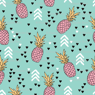 Tropical hawaiian aqua blue and pink pineapple summer fruit geometric arrow pattern print