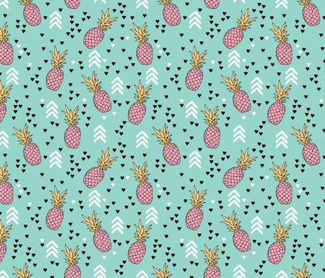 Tropical hawaiian aqua blue and pink pineapple summer fruit geometric arrow pattern print fabric by littlesmilemakers on Spoonflower - custom fabric