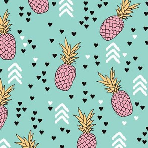 Tropical aqua blue and pink pineapple summer fruit geometric arrow pattern print