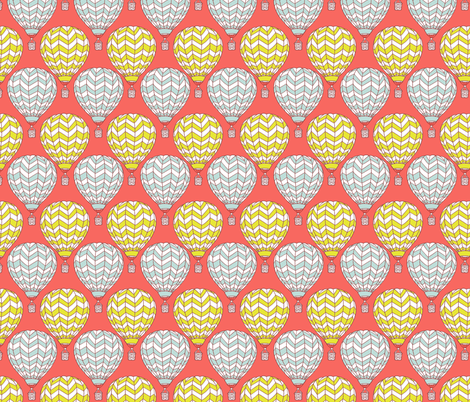 hot air balloons on coral fabric by kristinnohe on Spoonflower - custom fabric