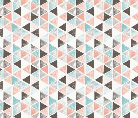 Watercolor Triangles - coral and teal fabric by aliceelettrica on Spoonflower - custom fabric