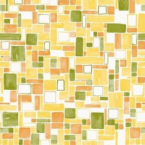 Watercolor Squares and rectangles - colorway 01 - citrus