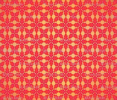 Red Floral on Gold